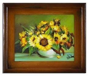 """Obraz """"Sloneczniki"""" ręcznie malowany 27x32cm"""