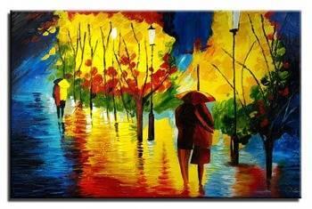 Obraz - Spacery - pejzaz nowoczesny - olejny, ręcznie malowany 60x90cm