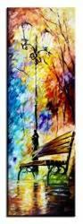 """Obraz """"Spacery - pejzaz nowoczesny"""" ręcznie malowany 50x150cm"""