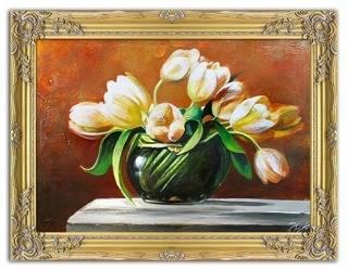 """Obraz """"Tulipany"""" ręcznie malowany 64x84cm"""