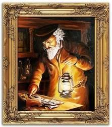 Obraz - Żyd na szczęście - olejny, ręcznie malowany 54x63cm