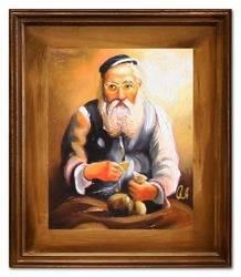 """Obraz """"Żyd na szczęście"""" ręcznie malowany 27x32cm"""