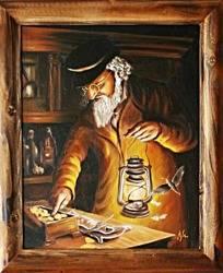 """Obraz """"Żyd na szczęście"""" ręcznie malowany 53x64cm"""