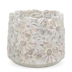Osłonka cementowa szara wzór kwiatowy 16x18x18