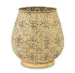 Średni Lampion Metalowy Ozdobny w Kwiaty Złoty