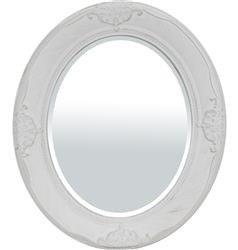 Stylowa Ozdobna Rama Lustro Owalne Biały 66x56 cm