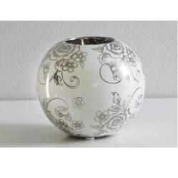 Świecznik ceramiczny kula biała z motywem róży  H :8 cm