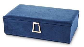 Szkatułka Na Biżuterię niebieski aksamit