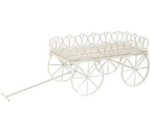 Wózek Na Kwiaty Ozdobny Biały H:31,5cm B:96cm