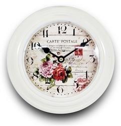 Zegar Ścienny Biały Kwiaty 21x21cm