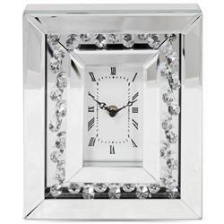 Zegar ścienny ozdobny klasyczny srebrny szkło