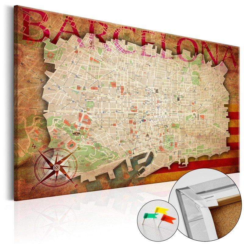 0b06c5d345789c Obraz na korku - Mapa Barcelony [Mapa korkowa] Kliknij, aby powiększyć ...