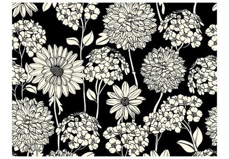 Fototapeta - Black and white floral pattern