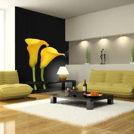 Fototapeta - Dwie żółte kalie na czarnym tle