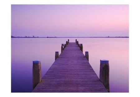 Fototapeta - Fioletowy zachód słońca - pomost na jeziorze