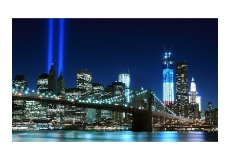 Fototapeta - Floodlights over NYC