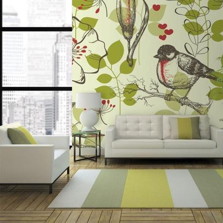 Fototapeta - Ptak i lilie - motyw vintage