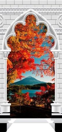 Fototapeta na drzwi - Tapeta na drzwi - Łuk gotycki i góra Fuji