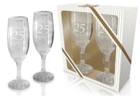 Kieliszki do szampana 25 rocznica ślubu 2 szt